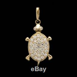 0.30Ct Round Cut Diamond Lady's Turtle Pendant Necklaces 14K Yellow Gold Finish
