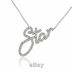 0.35 Carat Round Cut Diamond STAR Worded Pendant 14K White Gold Finish