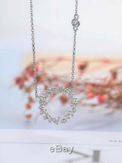 0.50 Carat Round Cut Diamond Open Circle Pendant Necklace 14K White Gold Finish