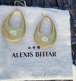 100% Authentic ALEXIS BITTAR Amber/gold Tapered Hoop Earrings