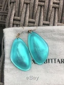 100% Authentic ALEXIS BITTAR Green/ Blue Liquid Silk Lucite EARRINGS