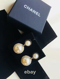 100% Authentic Chanel Gold Plated Large Glass Pearl Drop CC Logo Earrings