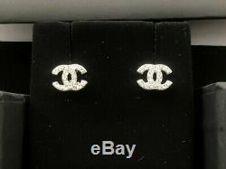 100% Authentic Chanel Silver-Tone CC Crystal Rhinestone Studs Earrings Mini