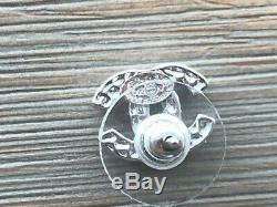 100% Authentic Chanel Silver-Tone CC Crystal Rhinestone Studs Earrings Mini
