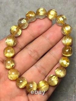 10.5mm Natural Gold Rutilated Quartz Titanium Crystal Round Beads Bracelet AAAA