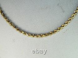 10k Yellow Gold. 417 Rope Style Chain 16 Fine Choker Length Necklace