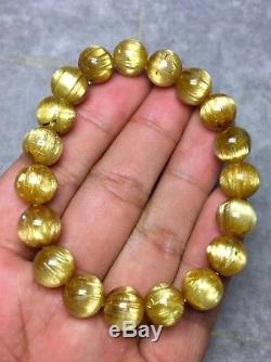 10mm Natural Gold Rutilated Quartz Titanium Crystal Round Beads Bracelet AAAA