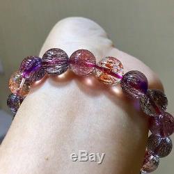 11mm Natural Brazil Super Seven 7 Melody Amethyst Crystal Round Beads Bracelet