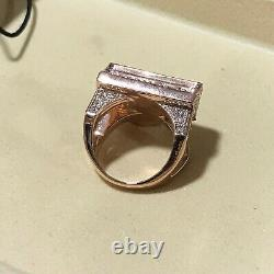 14K Rose Gold Over 3.00 Ct Round Cut Diamond Men's Fashion Jewelry Piano Ring
