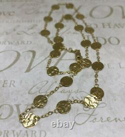 14K Solid Yellow Gold Circle Pendant Necklace