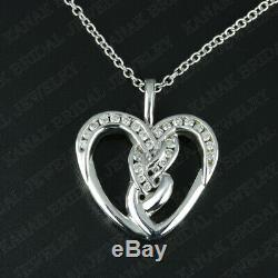 14K White Gold Finish 0.50 Ct Round Cut Diamond Heart Pendant Necklace