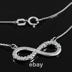 14K White Gold Over Womens Round Diamond Infinity Style Chain Pendant Necklace