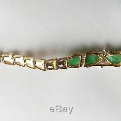 14K Yellow Gold Bracelet, Beautiful Jade Carved Frog Bracelet B36