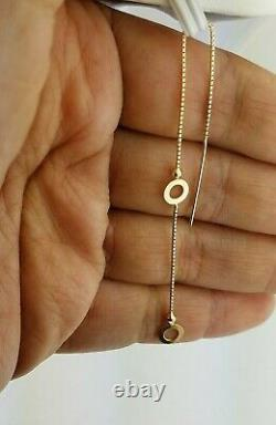 14K Yellow Gold Threader Earring Long Chain Dangle Round Open Circle Disc