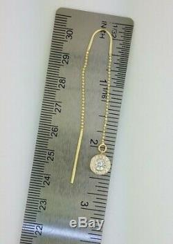 14K Yellow Gold Threader Earring Long Moon Chain. 20 CT Diamond Ball Dangle