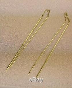 14K Yellow Gold Threader Earrings Long Stick Vertical Hanging Dangle Drop