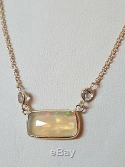 14k Gold Necklaces With Genuine Opal & Acvamarin 18 inch
