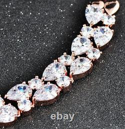 14k Rose Gold GF Necklace made w Swarovski Crystal Diamond Stone Bridal Jewelry