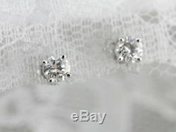 14k White Gold 0.90Ct Solitaire Diamond Earrings Solid April Birthstone Stud