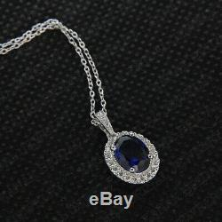 14k White Gold Finish 0.23 Ct Oval Blue Sapphire Halo Pendant Charm For Women's