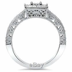 14k White Gold Over Women's 1.20Ct Princess Cut Diamond Engagement Wedding Ring