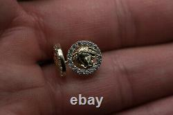14k solid yellow gold medusa stud earring, push back, solid earring with Cz