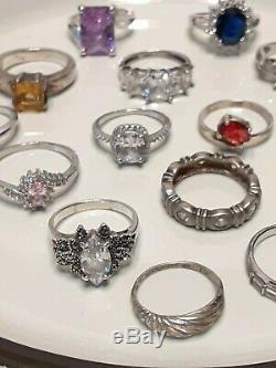 15 Ring Lot A Lot Marked 925/Sterling Silvertone BEAUTIFUL! Avon