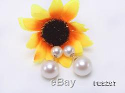 18K Gold 7-11mm White Round Freshwater Cultured Pearl Double-sided Studs Earring