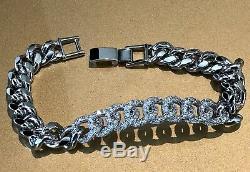 18K White Gold GF Cuban Link Bracelet made w Swarovski Crystal Pave Diamond 6