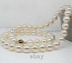 18 AAAAA 10-11mm perfect round south sea White pearl necklace 14K Gold Clasp