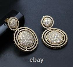 18k Gold Big Hoop Earrings made w Swarovski Crystal Pave Diamond Stone Gorgeous
