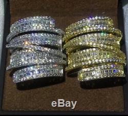 18k Gold Long Bold Ring made w Swarovski Crystal Stone Gorgeous Index Ring