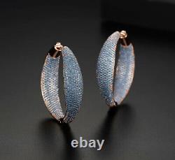 18k Rose Gold GF Hoop Earrings made w Swarovski Crystal Blue Stone Gorgeous