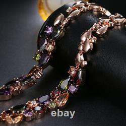 18k Rose Gold GF Multi-Color Necklace made with Swarovski Crystal Stone Gorgeous