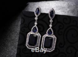18k White Gold 2.5 Long Earrings made w Swarovski Crystal Blue Sapphire Stone