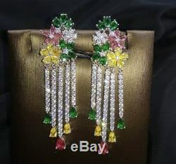 18k White Gold Chandelier Earrings made w Swarovski Crystal Multicolor Stone