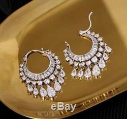 18k White Gold Chandelier Earrings made w Swarovski Crystal Topaz Stone Gorgeous