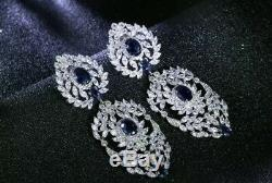 18k White Gold Chandelier Earrings w Swarovski Crystal Sapphire Marquise Stone