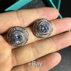 18k White Gold Earrings made w Swarovski Crystal Diamond Solitaire Stone Luxury