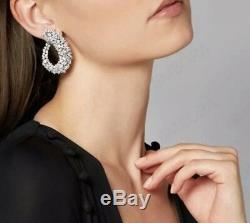 18k White Gold Earrings made with Swarovski Crystal Stone Gorgeous Cuff Earrings