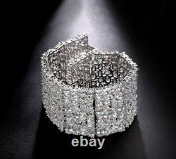 18k White Gold GF Bracelet made w Swarovski Diamond Marquise Stone Designer
