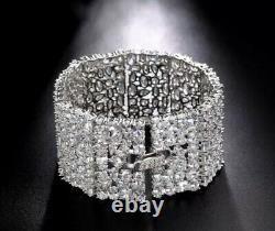 18k White Gold GF Bracelet made w Swarovski Diamond Stone Designer Inspired 6.5
