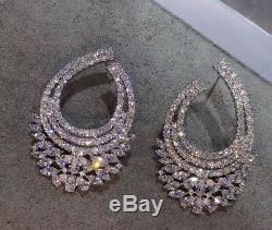 18k White Gold GF Cuff Earrings made w Swarovski Diamond Marquise Stone Designer