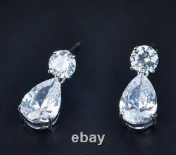18k White Gold GF Dangle Earrings made with Swarovski Crystal Stone Bridal Jewelry