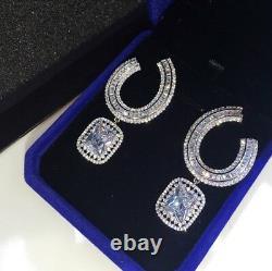 18k White Gold GF Earrings made w Swarovski Baguette Diamond Stone Hoop Earrings
