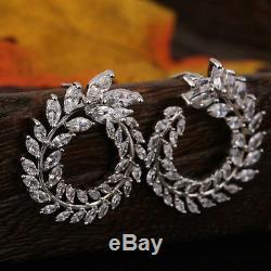 18k White Gold GF Earrings made w Swarovski Crystal Stone Wedding Bridal Jewelry