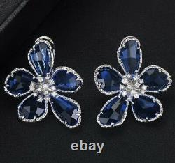 18k White Gold GF Flower Earrings made w Swarovski Blue Stone Designer Inspired
