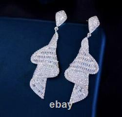 18k White Gold GF Long Swirl Earrings Simulated Diamond Stone Designer Inspired
