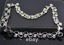 18k White Gold GF Necklace made w Swarovski Crystal Blue Sapphire Stone Gorgeous