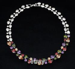 18k White Gold GF Necklace made with Swarovski Crystal Multicolor Stone Statement